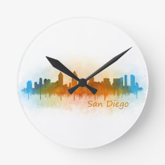Californian San Diego City Skyline Watercolor v03 Round Clock