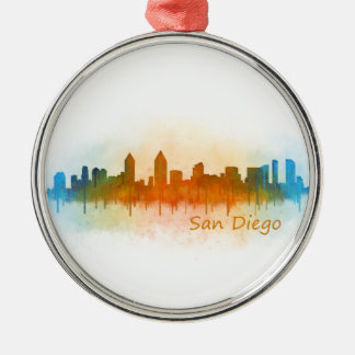 Californian San Diego City Skyline Watercolor v03 Silver-Colored Round Ornament