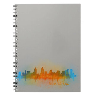 Californian San Diego City Skyline Watercolor v03 Spiral Note Book