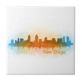 Californian San Diego City Skyline Watercolor v03 Tile