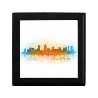 Californian San Diego City Skyline Watercolor v03 Trinket Box
