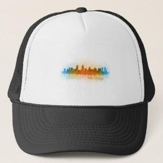 Californian San Diego City Skyline Watercolor v03 Trucker Hat