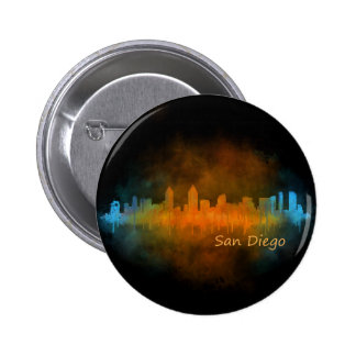 Californian San Diego City Skyline Watercolor v04 2 Inch Round Button