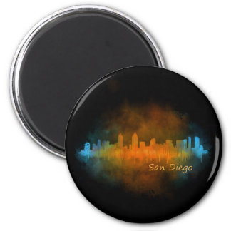 Californian San Diego City Skyline Watercolor v04 2 Inch Round Magnet