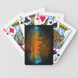 Californian San Diego City Skyline Watercolor v04 Bicycle Playing Cards
