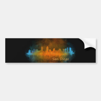 Californian San Diego City Skyline Watercolor v04 Bumper Sticker