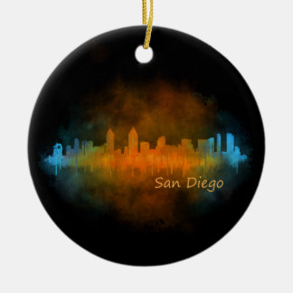Californian San Diego City Skyline Watercolor v04 Ceramic Ornament