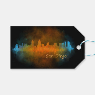 Californian San Diego City Skyline Watercolor v04 Gift Tags