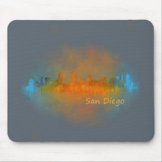 Californian San Diego City Skyline Watercolor v04 Mouse Pad