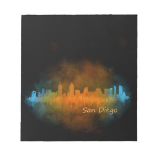 Californian San Diego City Skyline Watercolor v04 Notepad