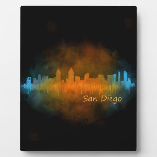 Californian San Diego City Skyline Watercolor v04 Plaque