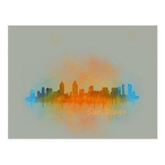 Californian San Diego City Skyline Watercolor v04 Postcard