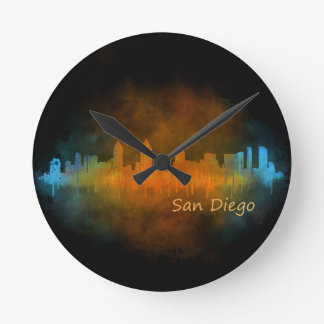 Californian San Diego City Skyline Watercolor v04 Round Clock