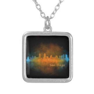 Californian San Diego City Skyline Watercolor v04 Silver Plated Necklace