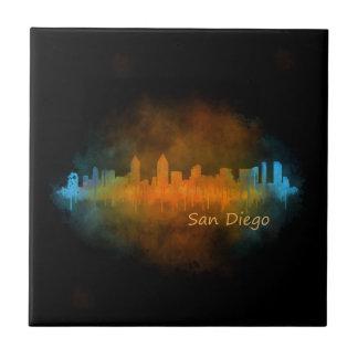 Californian San Diego City Skyline Watercolor v04 Tile