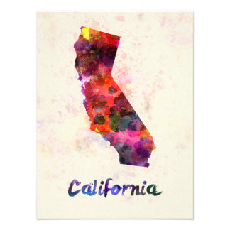 Californian U.S. state in watercolor Photo