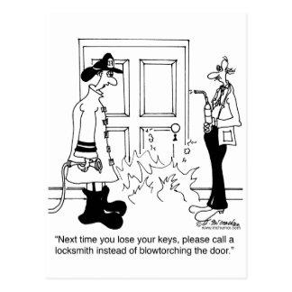Call A Locksmith Before Using a Blowtorch Postcard
