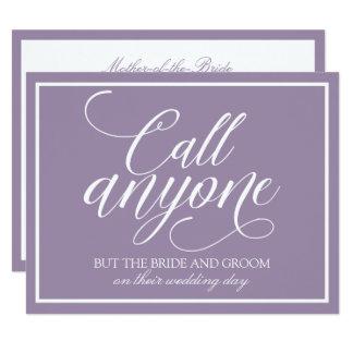 Call Anyone But the Bride Wedding Card (Lavender)