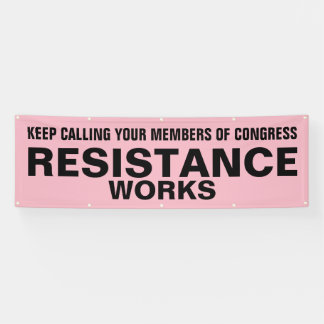 Call Congress Resistance Works Protest Black Pink Banner