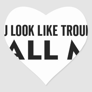 Call Me Trouble Heart Sticker