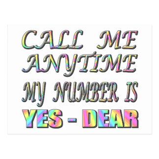 Call Me Yes Dear Postcard