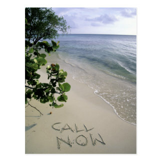 'Call Now' sand written on the beach, Jamaica Postcard