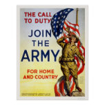 Call to Duty - Join the Army for Home and Country Poster