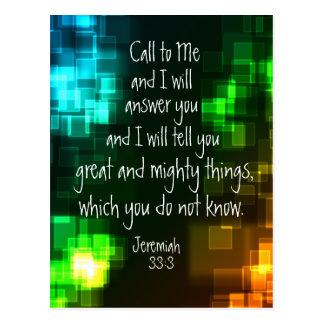 Call to Me Bible Verse Jeremiah 33:3 Postcard