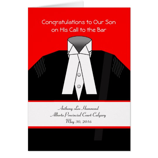 Call to the Bar, Custom Front, Add Your Text Card