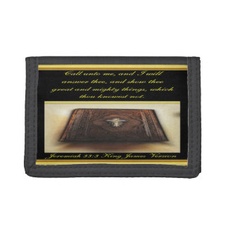 Call unto me, and I will answer thee Jeremiah 33:3 Tri-fold Wallet