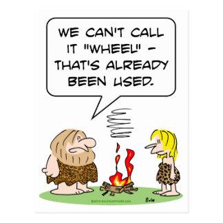call wheel fire already used caveman postcard