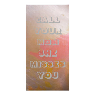 """""""Call Your Mom"""" Bookmark Sized Modern Chic Cards Photo Card Template"""