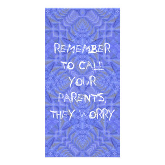 """""""Call Your Parents They Worry"""" Purple Pattern Card Customized Photo Card"""