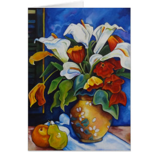 Calla Lilies and Poppies Greeting Card