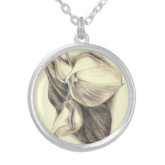 Calla Lilies Drawing Silver Plated Necklace