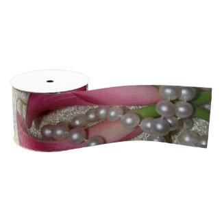 Calla Lilies Lace Pearls Floral Grosgrain Ribbon