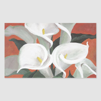 Calla Lilies On A Red Background