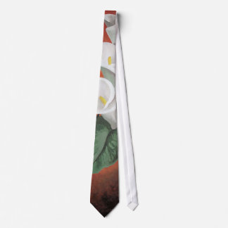 Calla Lilies On A Red Background Tie