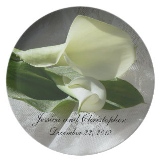 Calla Lilies on White Lace Wedding Plate