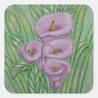Calla lilies square sticker