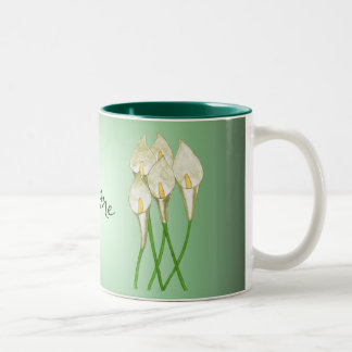 Calla Lilies (White) Two-Tone Coffee Mug