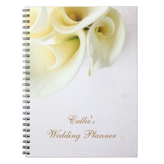 Calla lilies with text space wedding notebook