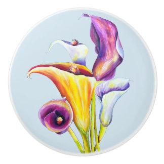 Calla Lillies Ceramic Knob