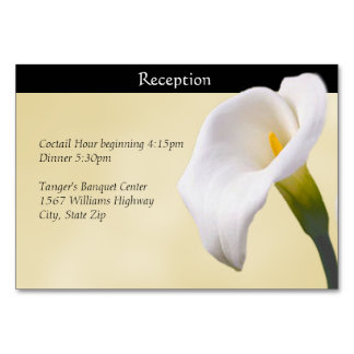 Calla Lilly on Gold Reception Card Table Cards