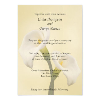 Calla Lilly on Gold Wedding Invitation