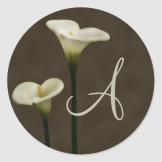 Calla Lily A Envelope Seal Round Sticker