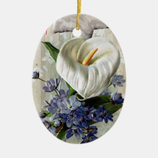 Calla Lily and Cross Vintage Easter Ceramic Ornament