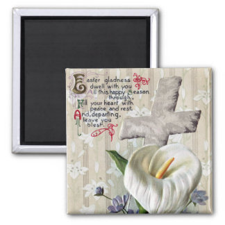Calla Lily and Cross Vintage Easter Square Magnet
