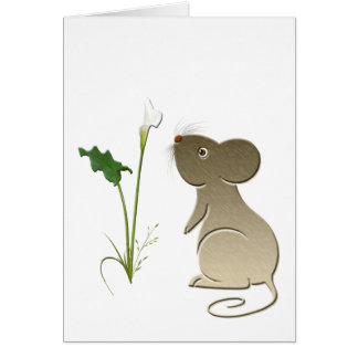 Calla lily and cute mouse card