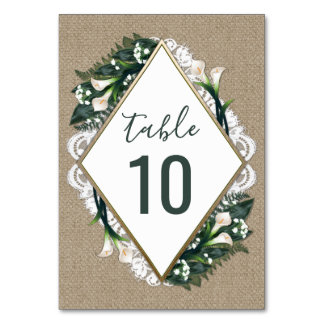 Calla Lily Burlap Lace Wedding Table Number Cards